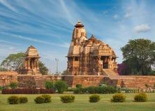 Devi Jagdamba temple. And mahadev mandapa on sunrise. Khajuraho, India Royalty Free Stock Photo