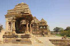 Devi Jagdambi świątynia, Zachodnie świątynie Khajuraho, India fotografia stock