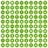 100 device app icons hexagon green Stock Photo