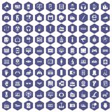 100 device app icons hexagon purple. 100 device icons set in purple hexagon isolated vector illustration Stock Images