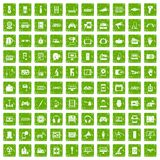 100 device app icons set grunge green. 100 device icons set in grunge style green color isolated on white background vector illustration Stock Photography