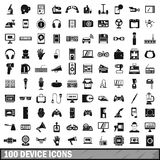 100 device app icons set, simple style Stock Image