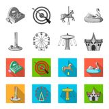 The device with a bat for measuring strength, a ferris wheel, a carousel, a house with windows. Amusement park set. Collection icons in monochrome,flat style Stock Photo