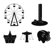 The device with a bat for measuring strength, a ferris wheel, a carousel, a house with windows. Amusement park set. Collection icons in black style vector Stock Images