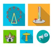 The device with a bat for measuring strength, a ferris wheel, a carousel, a house with windows. Amusement park set. Collection icons in flat style vector symbol Stock Photo