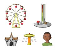 The device with a bat for measuring strength, a ferris wheel, a carousel, a house with windows. Amusement park set. Collection icons in cartoon style vector Stock Images