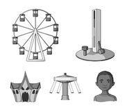 The device with a bat for measuring strength, a ferris wheel, a carousel, a house with windows. Amusement park set. Collection icons in monochrome style vector Royalty Free Stock Photo