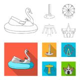 The device with a bat for measuring strength, a ferris wheel, a carousel, a house with windows. Amusement park set. Collection icons in outline,flat style Royalty Free Stock Photos