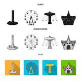 The device with a bat for measuring strength, a ferris wheel, a carousel, a house with windows. Amusement park set. Collection icons in black, flat, monochrome Royalty Free Stock Photo