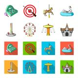 The device with a bat for measuring strength, a ferris wheel, a carousel, a house with windows. Amusement park set. Collection icons in cartoon,flat style Stock Photography