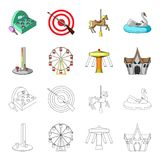 The device with a bat for measuring strength, a ferris wheel, a carousel, a house with windows. Amusement park set. Collection icons in cartoon,outline style Royalty Free Stock Photos