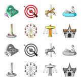 The device with a bat for measuring strength, a ferris wheel, a carousel, a house with windows. Amusement park set. Collection icons in cartoon,monochrome style Royalty Free Stock Photo