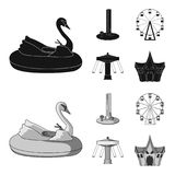 The device with a bat for measuring strength, a ferris wheel, a carousel, a house with windows. Amusement park set. Collection icons in black,monochrom style Royalty Free Stock Image