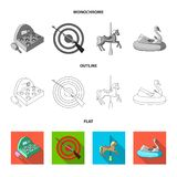 The device with a bat for measuring strength, a ferris wheel, a carousel, a house with windows. Amusement park set. Collection icons in flat,outline,monochrome Royalty Free Stock Images