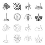 The device with a bat for measuring strength, a ferris wheel, a carousel, a house with windows. Amusement park set. Collection icons in outline,monochrome style Royalty Free Stock Photography