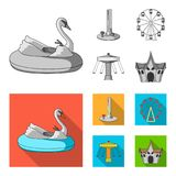 The device with a bat for measuring strength, a ferris wheel, a carousel, a house with windows. Amusement park set. Collection icons in monochrome,flat style Stock Photos