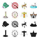 The device with a bat for measuring strength, a ferris wheel, a carousel, a house with windows. Amusement park set. Collection icons in black,cartoon style Stock Photography
