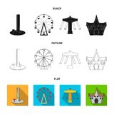 The device with a bat for measuring strength, a ferris wheel, a carousel, a house with windows. Amusement park set. Collection icons in black,flat,outline style Stock Photography