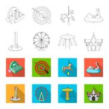 The device with a bat for measuring strength, a ferris wheel, a carousel, a house with windows. Amusement park set. Collection icons in outline,flat style Stock Image