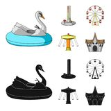 The device with a bat for measuring strength, a ferris wheel, a carousel, a house with windows. Amusement park set. Collection icons in cartoon,black style Royalty Free Stock Photo