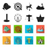 The device with a bat for measuring strength, a ferris wheel, a carousel, a house with windows. Amusement park set. Collection icons in black,flet style vector Royalty Free Stock Photo