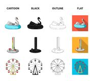 The device with a bat for measuring strength, a ferris wheel, a carousel, a house with windows. Amusement park set. Collection icons in cartoon,black,outline Stock Images
