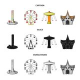 The device with a bat for measuring strength, a ferris wheel, a carousel, a house with windows. Amusement park set. Collection icons in cartoon,black,monochrome Stock Images