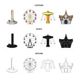 The device with a bat for measuring strength, a ferris wheel, a carousel, a house with windows. Amusement park set. Collection icons in cartoon,black,outline Royalty Free Stock Photo