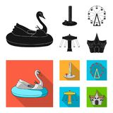 The device with a bat for measuring strength, a ferris wheel, a carousel, a house with windows. Amusement park set. Collection icons in black, flat style vector Royalty Free Stock Photo
