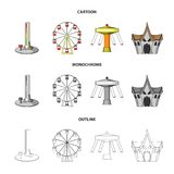 The device with a bat for measuring strength, a ferris wheel, a carousel, a house with windows. Amusement park set. Collection icons in cartoon,outline Royalty Free Stock Photo