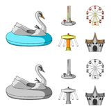 The device with a bat for measuring strength, a ferris wheel, a carousel, a house with windows. Amusement park set. Collection icons in cartoon,monochrome style Stock Photo