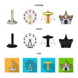 The device with a bat for measuring strength, a ferris wheel, a carousel, a house with windows. Amusement park set. Collection icons in cartoon,black,flat style Stock Photo