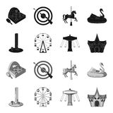 The device with a bat for measuring strength, a ferris wheel, a carousel, a house with windows. Amusement park set. Collection icons in black,monochrome style Stock Photo