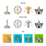 The device with a bat for measuring strength, a ferris wheel, a carousel, a house with windows. Amusement park set. Collection icons in cartoon,flat,monochrome Stock Image