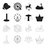 The device with a bat for measuring strength, a ferris wheel, a carousel, a house with windows. Amusement park set. Collection icons in black,outline style Stock Images