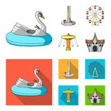 The device with a bat for measuring strength, a ferris wheel, a carousel, a house with windows. Amusement park set. Collection icons in cartoon,flat style Royalty Free Stock Photography