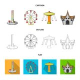 The device with a bat for measuring strength, a ferris wheel, a carousel, a house with windows. Amusement park set. Collection icons in cartoon,outline,flat Stock Photos