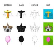 The device with a bat for measuring strength, a ferris wheel, a carousel, a house with windows. Amusement park set. Collection icons in cartoon,black,outline Royalty Free Stock Images