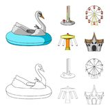 The device with a bat for measuring strength, a ferris wheel, a carousel, a house with windows. Amusement park set. Collection icons in cartoon,outline style Stock Images