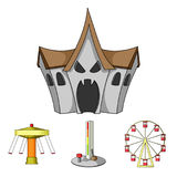 The device with a bat for measuring strength, a ferris wheel, a carousel, a house with windows. Amusement park set. Collection icons in cartoon style vector Stock Photography