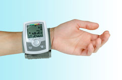 Device for blood pressure heart rate. Used at hand wrist Royalty Free Stock Photography