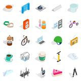 Device for construction icons set, isometric style. Device for construction icons set. Isometric set of 25 device for construction vector icons for web isolated Stock Images