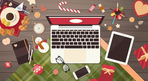 Device Electronics Gadget New Year Concept Laptop Phone Tablet Christmas Gift Decoration Stock Photos