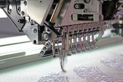 Embroidery machine during embroidery. Device embroidery machine during embroidery Royalty Free Stock Photos