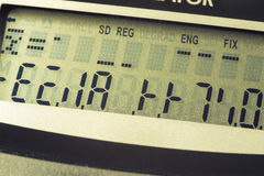 Device error. Digital calculator screen with different wrong symbols royalty free stock photo