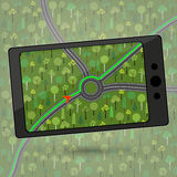 Device with GPS module. Smartphone with GPS navigation. Vector i Stock Photo