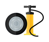 Device hand bicycle and car pump flat cartoon vector style icon. Stock Image