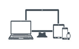 Device icons: desktop computer, laptop, smart phone, tablet and smart watch. Vector illustration Royalty Free Stock Photo