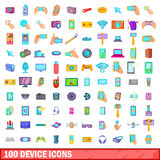 100 device icons set, cartoon style. 100 device icons set in cartoon style for any design vector illustration Royalty Free Stock Images