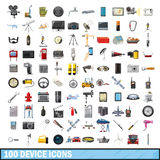100 device icons set, cartoon style. 100 device icons set in cartoon style for any design vector illustration Stock Images